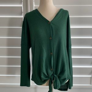 Iwollence oversized thermal with button front sz S waffle knit